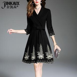 JINKAIX2017秋冬新款时尚气质欧洲站优雅修身显瘦名媛绣花连衣裙