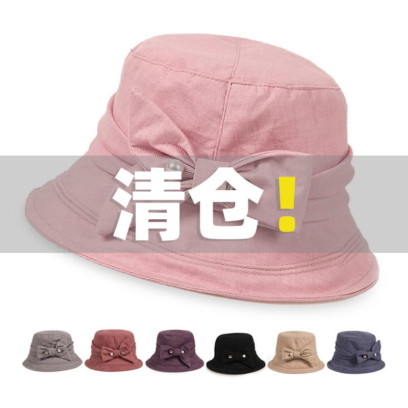 帽子女夏天妈妈帽中老年帽子女士盆帽春秋薄款遮阳凉帽老人帽清仓