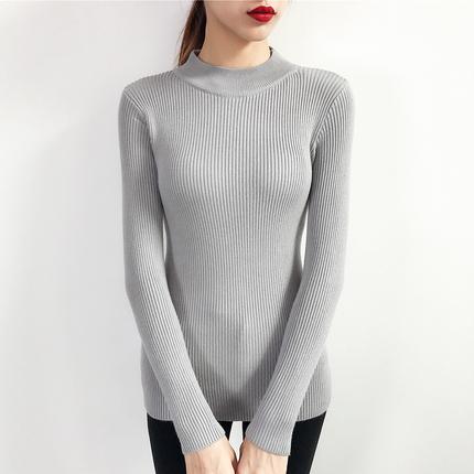 秋冬新款套头百搭修身紧身针织衫半高领毛衣打底衫女长袖短款线衣