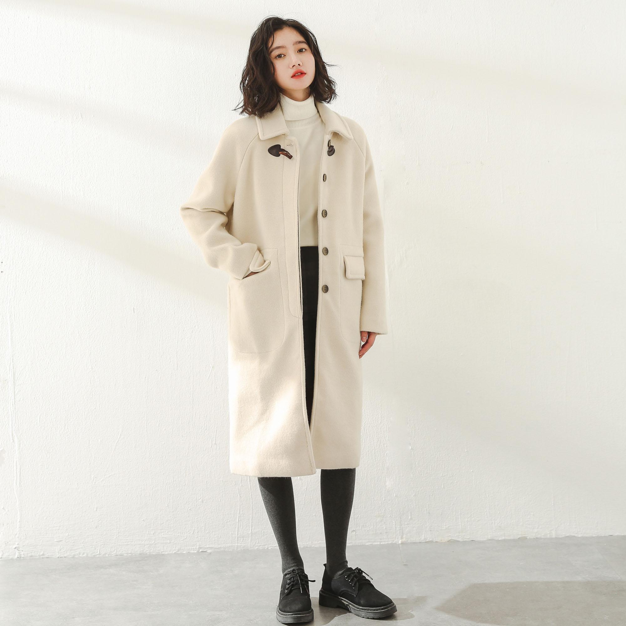 2019秋冬季流行新款韩版气质呢子赫本风加厚中长款大衣毛呢外套女