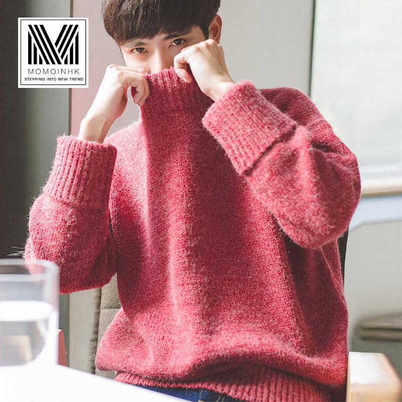 冬季男士半高领毛衣韩版潮流宽松加厚针织衫男长袖个性毛衫线衣男