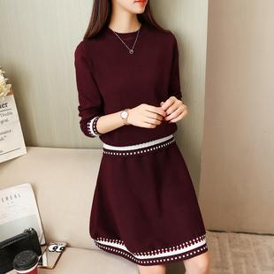 早春网红套装女俏皮毛衣裙子时尚春装针织两件套气质套裙韩版女装