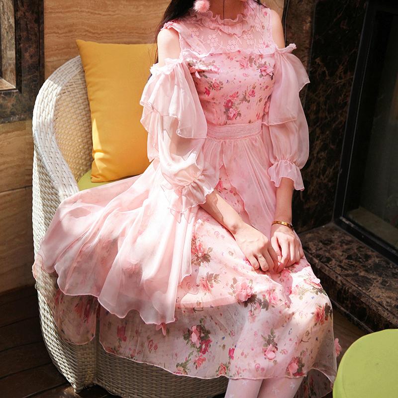 陛下兰他惜秋新款复古素软妹少女花朵露肩仙女长款连衣裙