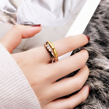 欧美风三环三sl3彩金戒指vn金食指环戒子钛钢不褪色时尚饰品