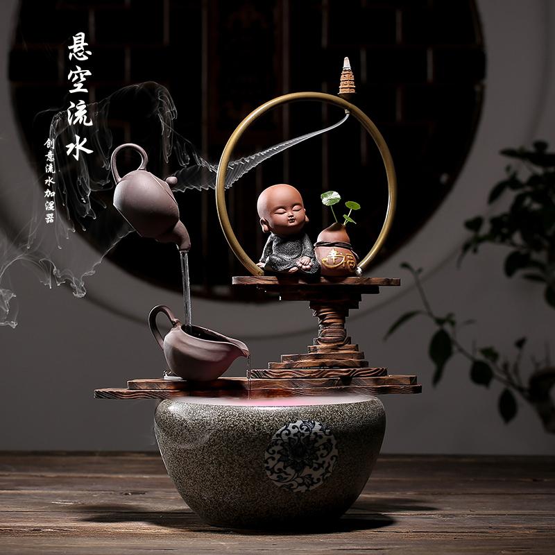 创意喷泉流水加湿器悬空茶壶招财客厅办公室家居工艺摆件开业礼品