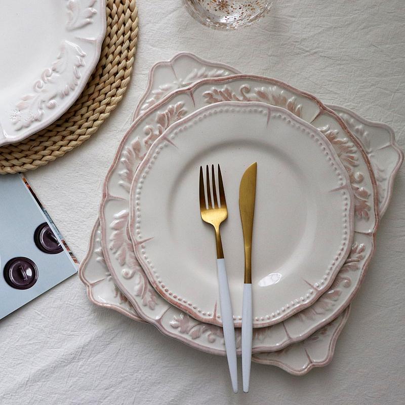 宅物 美单做旧复古擦色做旧陶瓷餐盘西餐牛排盘/四方盘 饭碗/面碗
