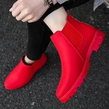 Red new British short boots warm casual Chelsea boots Korean high top shoes all match Martin boots men's fashion winter