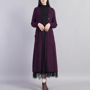2020秋季新款大码弹力韩版修身针织外套气质百搭中长款毛衣外套女图片