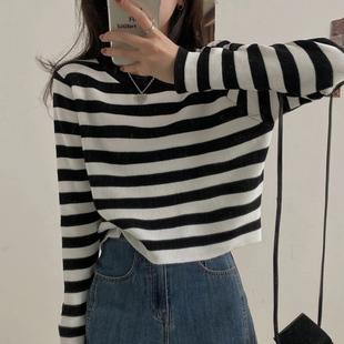 长袖女上衣服条纹针织打底衫春秋季冬毛衣2020新款薄外穿短款外套图片