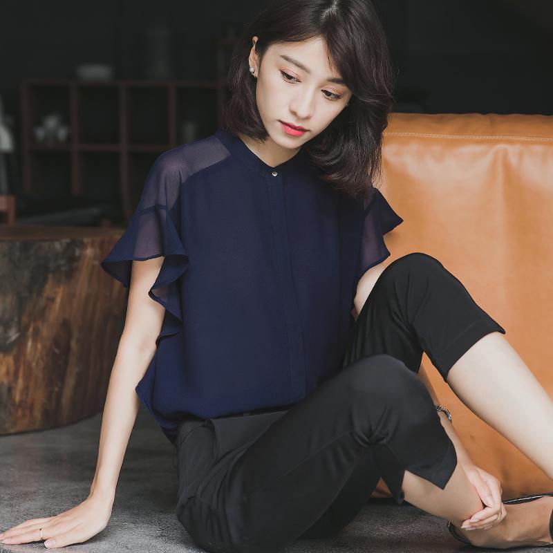 衬衣女短袖2019夏季新款荷叶边气质上衣雪纺衫设计感小众休闲衬衫