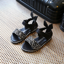 女童凉鞋2021新款韩款童鞋夏季露趾pe15公主鞋14花朵6学生4儿童3