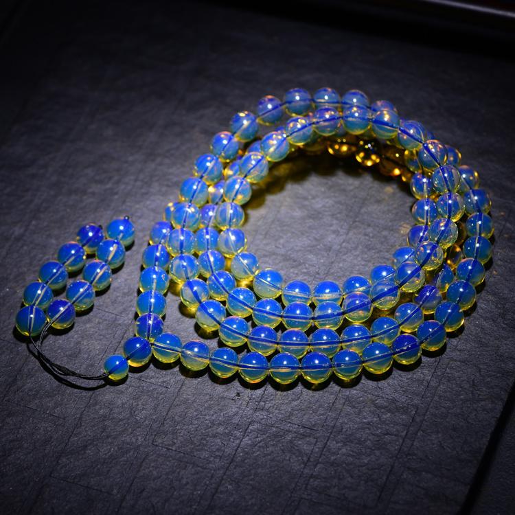 多米5A净水蓝珀108颗佛珠手链  纯天然蜜蜡琥珀圆珠手串男女款