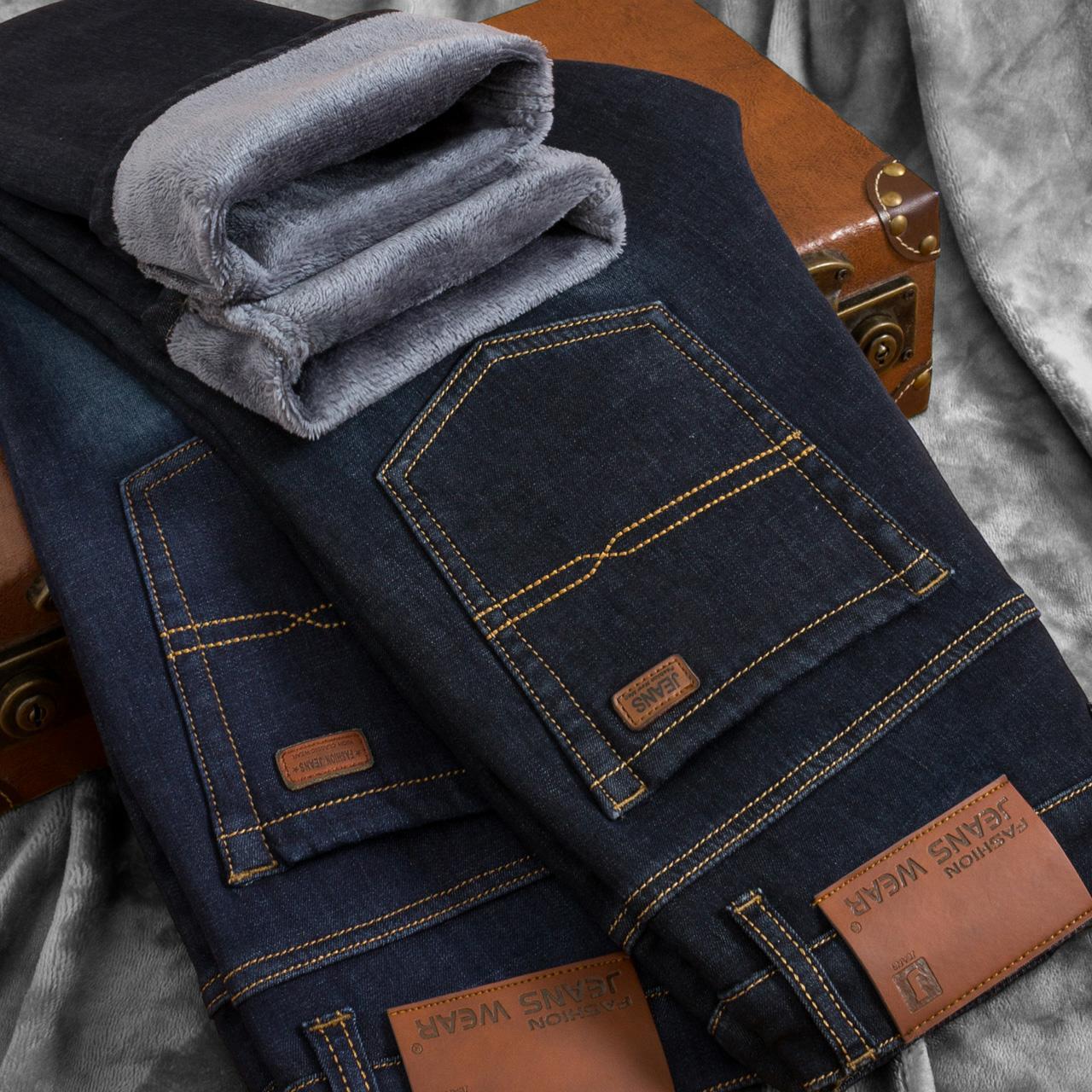 秋鼕款加絨加厚男士牛仔褲男直筒修身保暖帶絨青年彈力鼕季男褲子