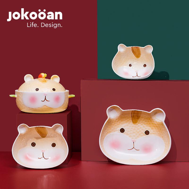 可爱卡通创意陶瓷碗单个套装女ins高颜值餐具家用动物儿童餐盘子