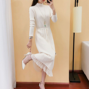 Long sweater skirt over the knee thick new women's half-high collar lace stitching lace-up knitted dress