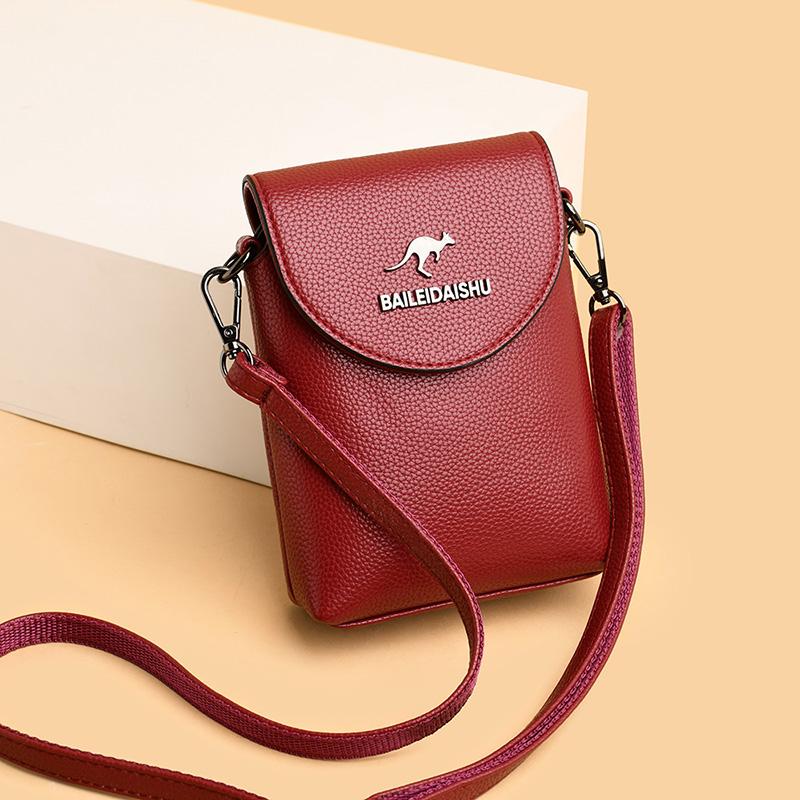 袋鼠真皮迷你斜挎手机包2020新款夏季小包包零钱钥匙包时尚单肩包