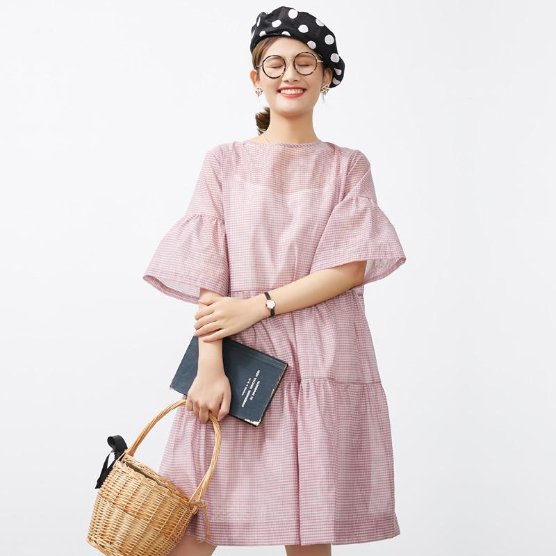 宓素 天真烂漫  丝棉气质复古连衣裙喇叭袖夏季宽松中裙两件套
