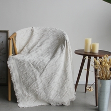 美式乡村纯色白格沙发巾全su9外贸布艺ou特价沙发罩盖毯防滑