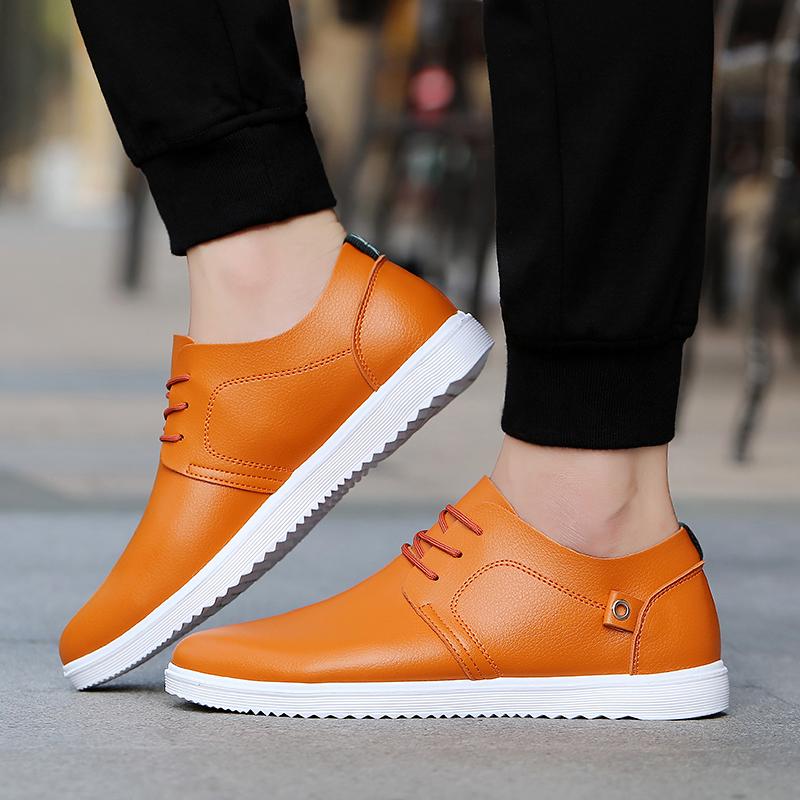 男鞋秋季透气防水皮鞋韩版休闲板鞋学生百搭潮鞋男士防滑工作鞋子