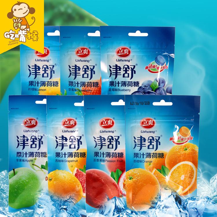 【吃嘴猴】立爽津舒果汁薄荷糖清凉润喉果味硬糖25g*12袋一份包邮