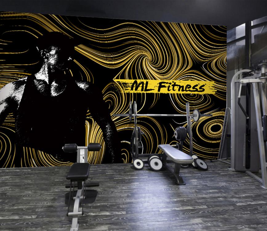 复古黑白运动人物壁纸涂鸦线条几何图案壁画健身瑜伽拳击工装墙纸