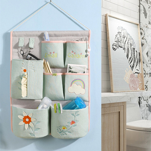 Cartoon fabric storage hanging bag home wall-mounted multi-layer storage finishing bag sundries classified storage storage bag