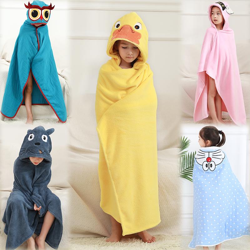 儿童浴巾斗篷可穿带帽纱布比纯棉毛巾料吸水速干游泳浴袍男女宝宝