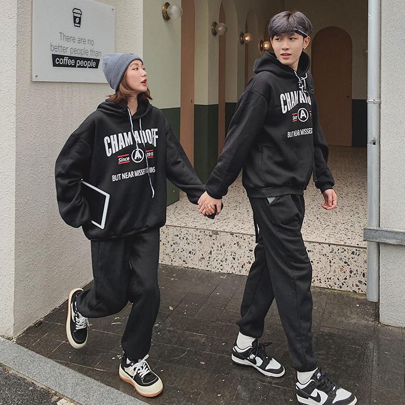 #035实拍(250g卫衣)情侣装加绒秋冬新款韩版字母印花连帽两件套 -