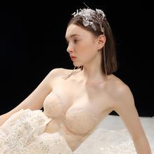 无肩带文胸防滑内衣女夏季薄款聚拢y113婚大胸16胸婚纱蕾丝