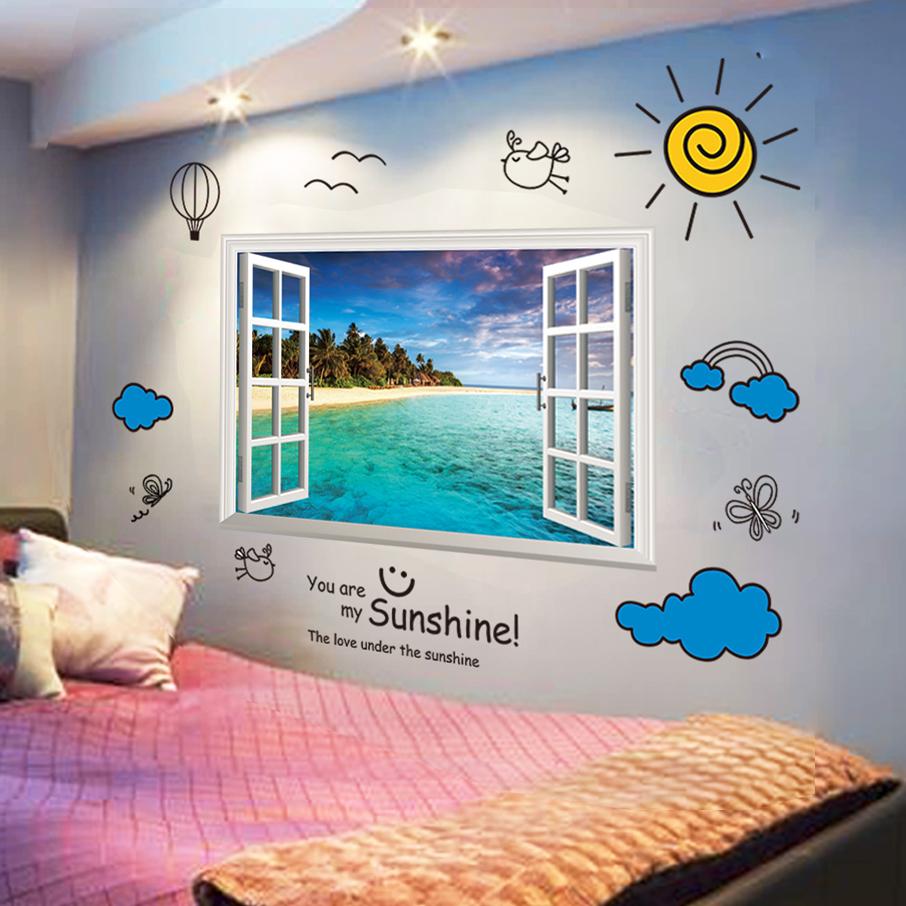 3D立体墙贴纸卧室温馨客厅地中海墙壁纸装饰自粘海报纸假窗户贴画