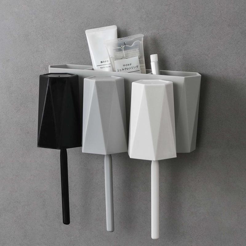 牙刷置物架免打孔家用漱口刷牙杯女卫生间吸壁式壁挂简约牙具套装