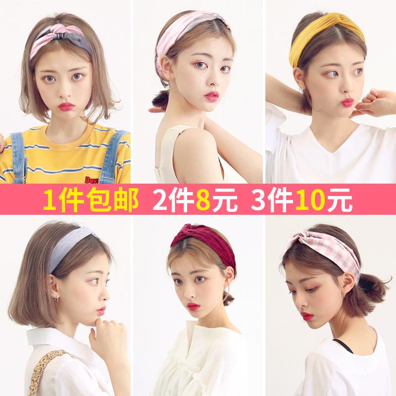 风韩国甜美森女系束发带樱花网红洗脸发箍头巾发卡头饰品外出夏