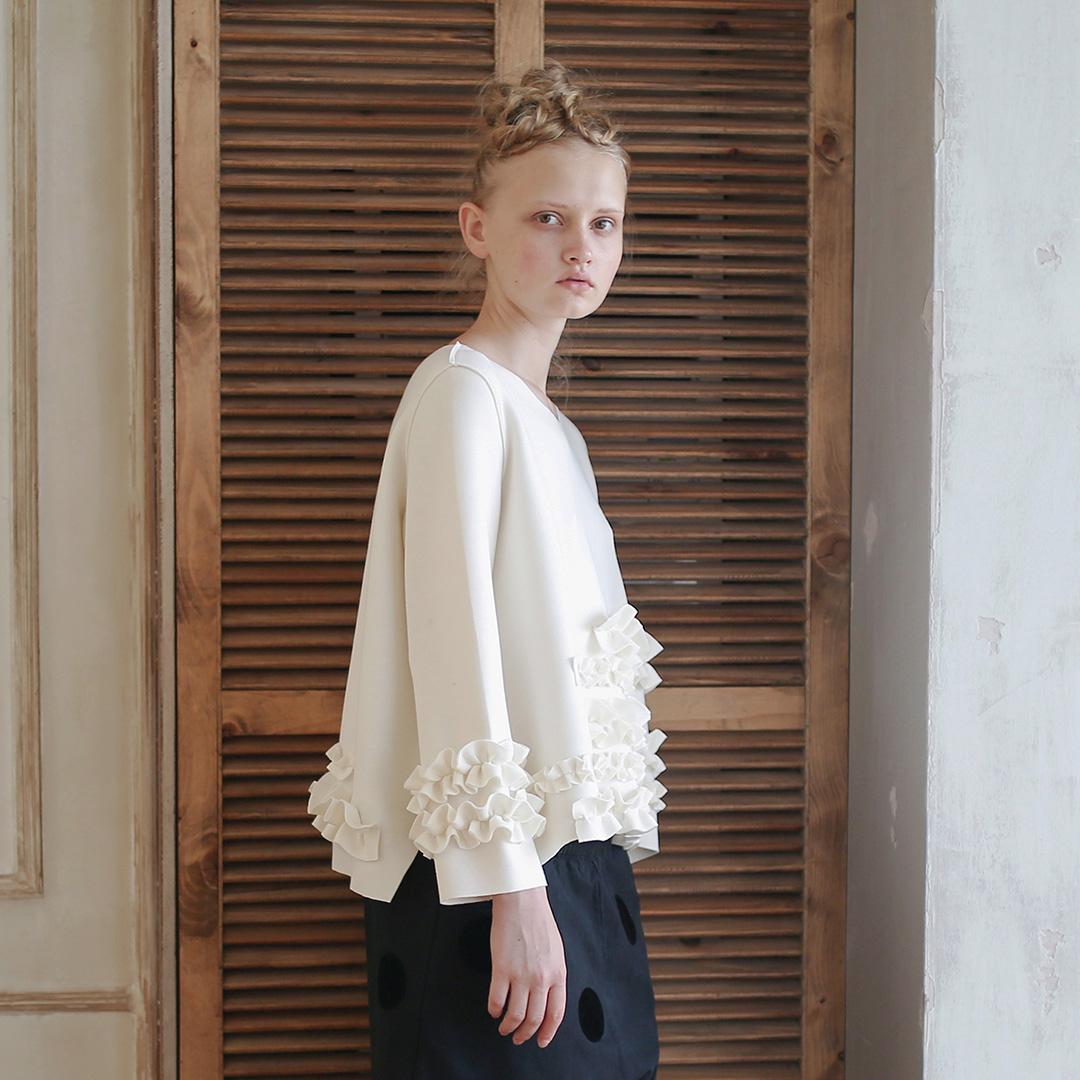 空气层长袖上衣imakokoni原创设计日系宽松厚圆领纯色T恤女秋冬