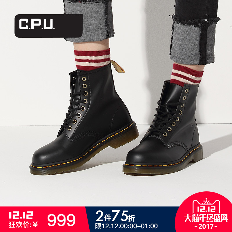 C.P.U.Dr.Martens经典系带时尚男女同款皮靴短筒靴马丁靴