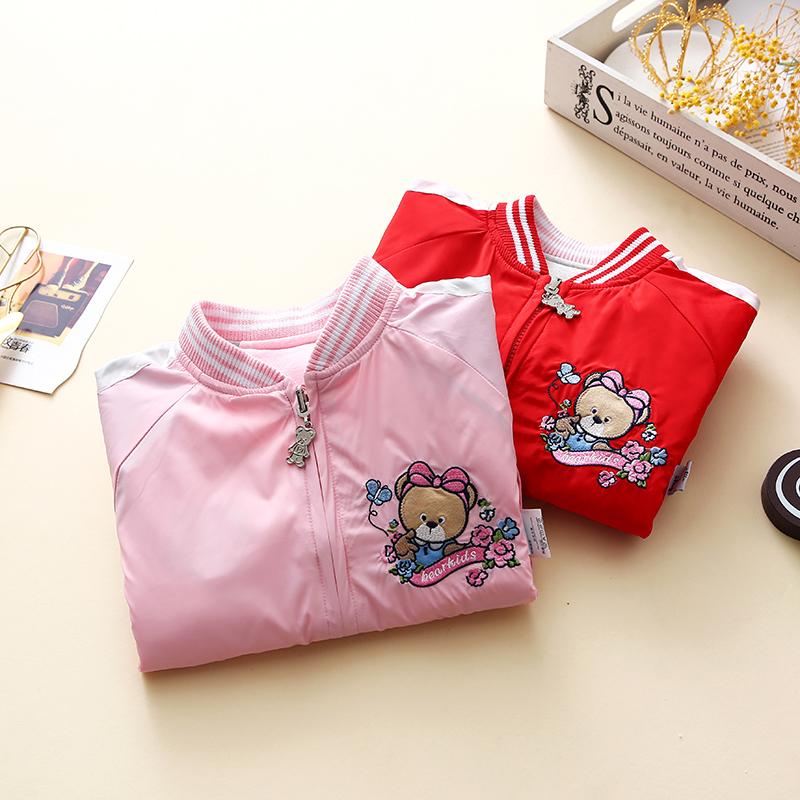 韩版童装秋女童两面穿拉链开衫外套中大童加厚棒球服儿童双层夹克