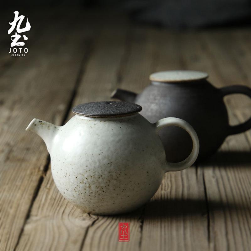 九土手工粗陶壶功夫茶具壶拉坯正把壶日式茶道用黑白茶水壶茶杯子
