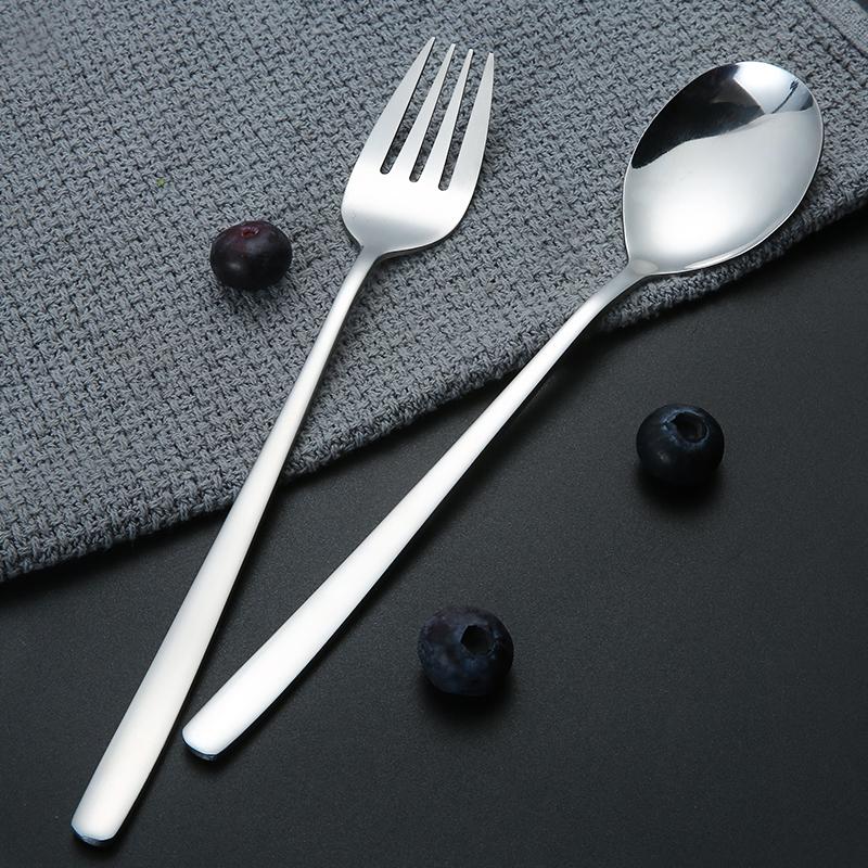 精致不锈钢勺子咖啡甜品勺家用汤匙韩式长柄水果叉子欧式西餐叉勺