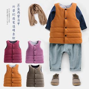 2019秋冬季韩版儿童双面马甲男女童棉马甲宝宝婴儿百搭加厚棉背心
