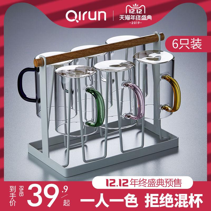 玻璃杯带把耐热透明简约大容量家用客厅喝水杯泡茶杯子 6只装套装