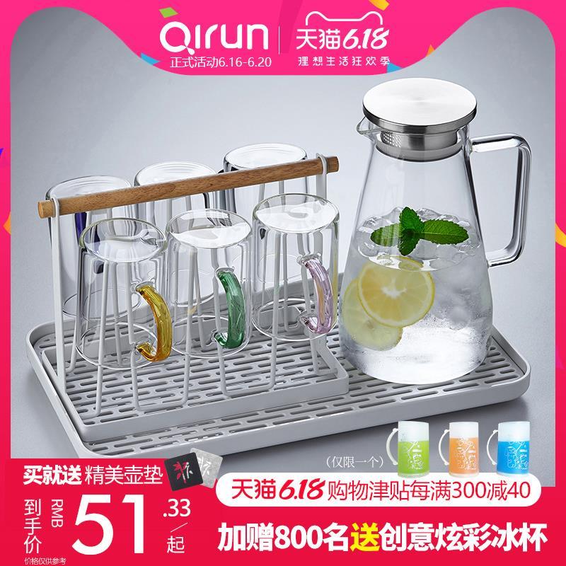 冷水壶玻璃茶壶耐热耐高温凉开水壶家用杯具套装防爆大容量凉水壶