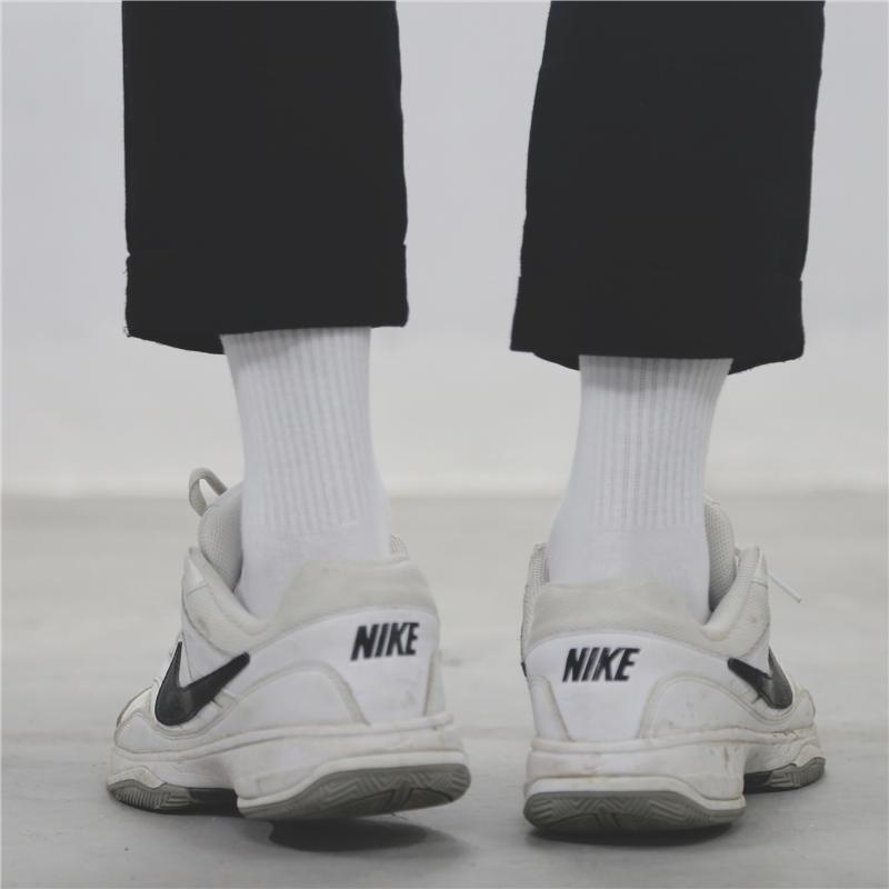 男女士中长筒袜子简约黑白纯色纯棉透气运动百搭长款潮流商务学院
