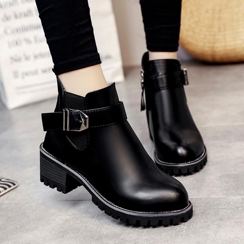 女靴子秋鼕季新款2017百搭英倫風小跟短靴平底馬丁靴加絨保暖女鞋
