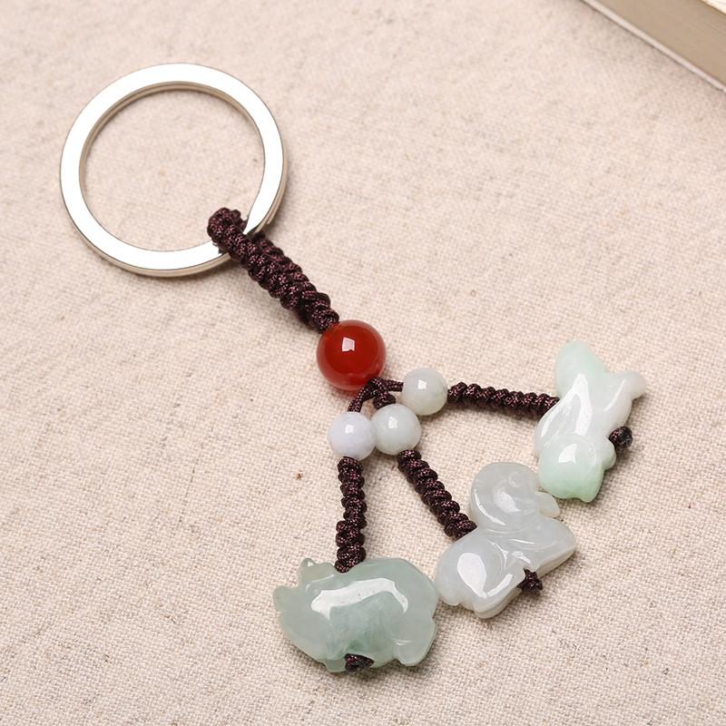 翡翠玉佩12十二生肖钥匙扣属相鼠牛虎兔龙蛇马羊猴鸡狗猪饰品挂件