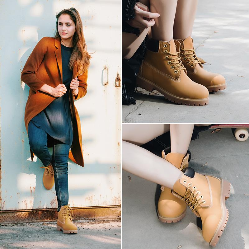 秋冬大黄靴马丁靴真皮短靴子女鞋学生工装英伦风情侣款复古大头鞋