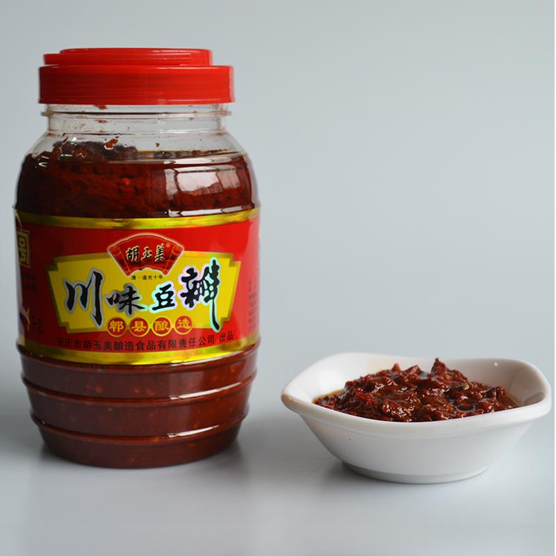 郫县红油豆瓣酱正宗四川特产胡玉美桶装拌饭辣椒酱川菜调料2斤装
