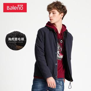 Baleno班尼路男装 军风海虎里毛领夹克衫青年新款厚外套男M