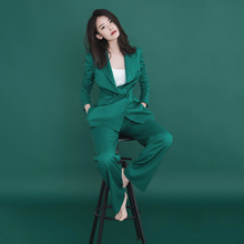 西装套装女20go41春夏韩um尚休闲显瘦洋气质(小)西装长裤两件套