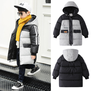 Boys' cotton coat 2019 new children's clothing children's winter down feather cotton long jacket jacket foreign style cotton tide clothing
