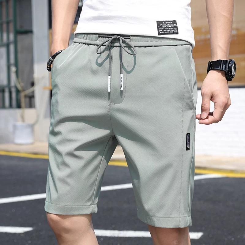 男士短裤夏季冰丝超薄款中裤宽松运动七分裤休闲马裤沙滩五分裤子