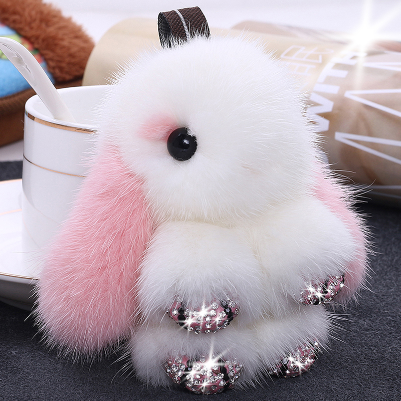 进口水貂毛绒皮草小号可爱萌兔子包包挂件镶钻迷你装死萌兔钥匙扣